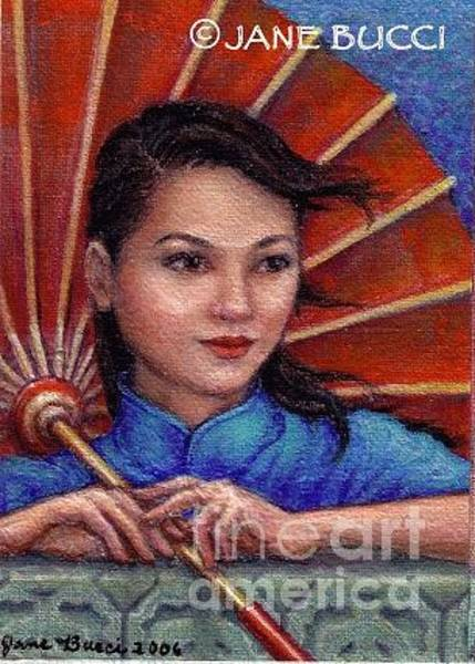 Wall Art - Painting - Red Parasol Girl by Jane Bucci