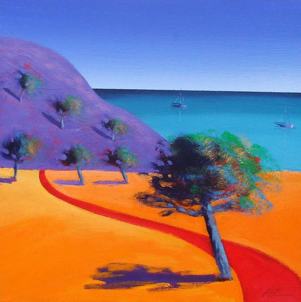 Sea Land Painting - Red Path by Paul Powis