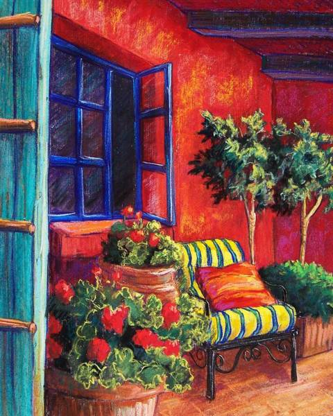 Geranium Wall Art - Pastel - Red Patio by Candy Mayer