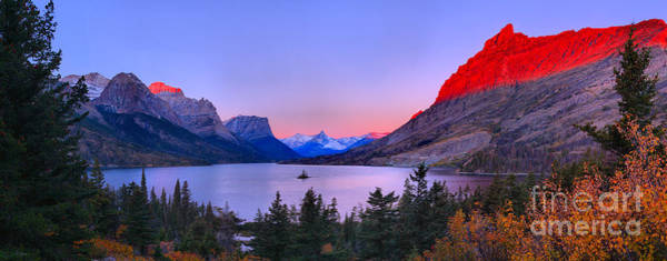 Photograph - Red Peaks Over St Mary Lake by Adam Jewell