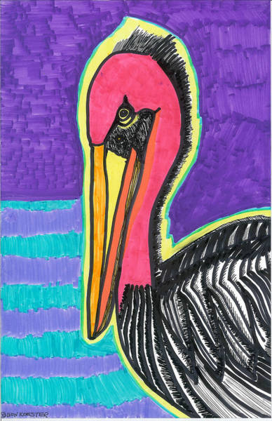 Pelican Mixed Media - Red Pelican by Don Koester