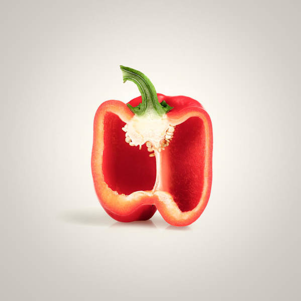 Green Vegetable Photograph - Red Pepper Cross-section by Johan Swanepoel