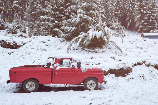 Photograph - Red Pickup Truck On The Snow In The Argentine Patagonia by Fine Art Photography Prints By Eduardo Accorinti