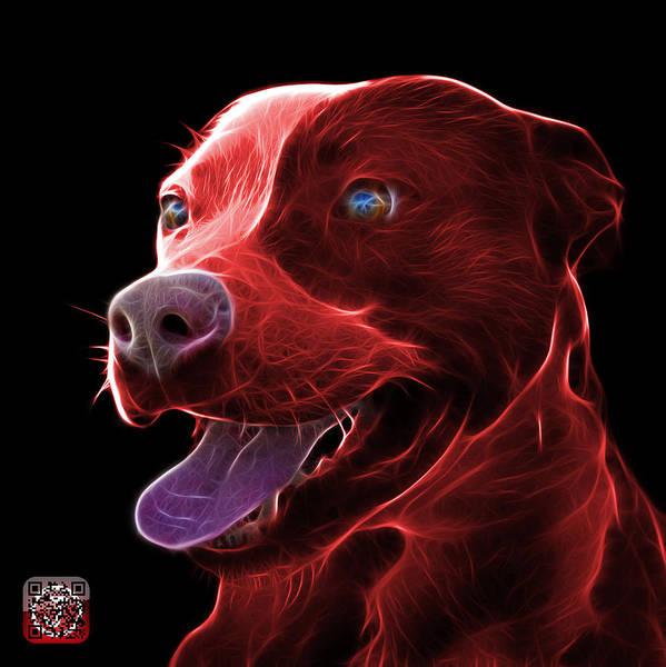 Mixed Media - Red Pit Bull Fractal Pop Art - 7773 - F - Bb by James Ahn