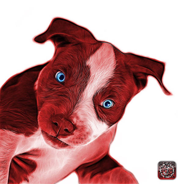 Painting - Red Pitbull Dog Art 7435 - Wb by James Ahn