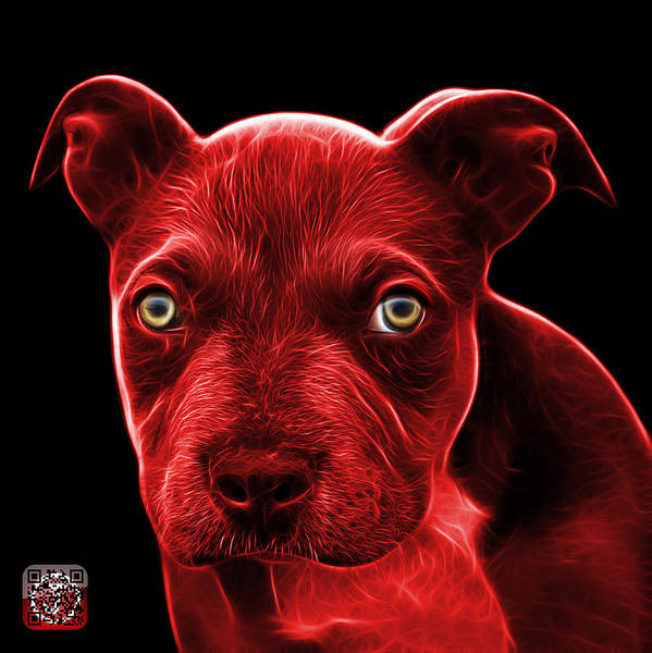 Painting - Red Pitbull Puppy Pop Art - 7085 Bb by James Ahn