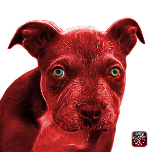 Painting - Red Pitbull Puppy Pop Art - 7085 Wb by James Ahn