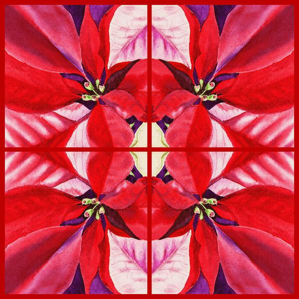 Painting - Red Poinsettia Quartet by Irina Sztukowski