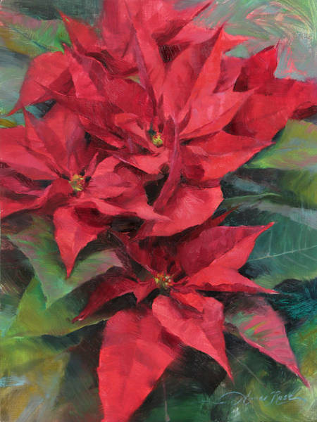 Christmas Flowers Painting - Red Poinsettias by Anna Rose Bain