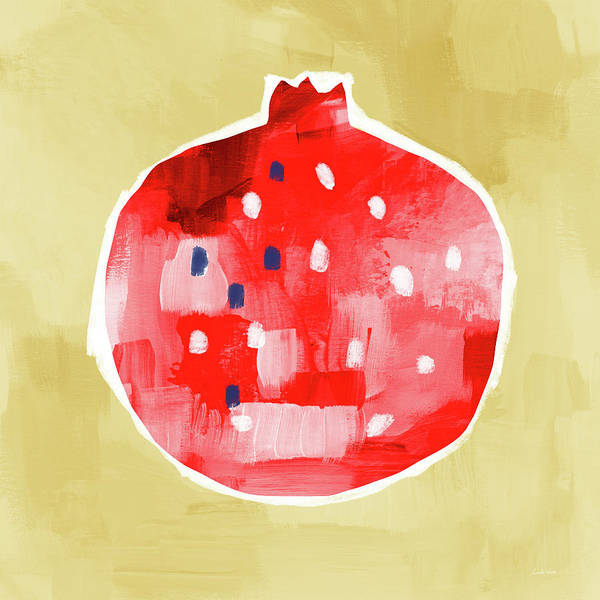 Mixed Media - Red Pomegranate- Art By Linda Woods by Linda Woods