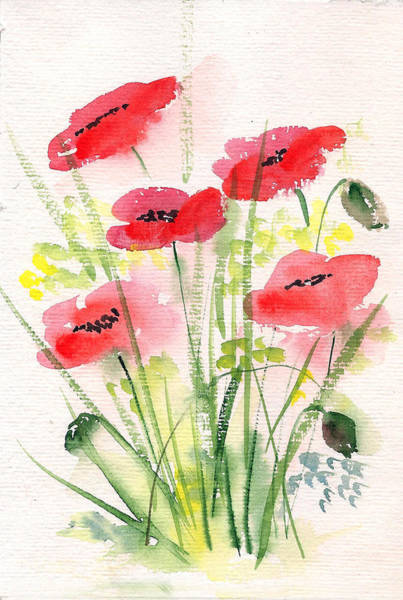 Painting - Red Poppies 2 by Asha Sudhaker Shenoy