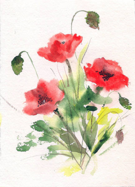 Painting - Red Poppies by Asha Sudhaker Shenoy