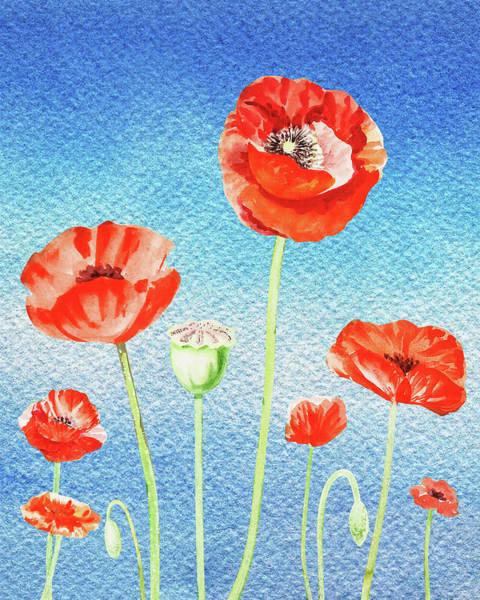 Painting - Red Poppies Blue Sky by Irina Sztukowski