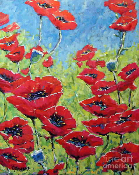 Floral Shower Curtain Painting - Red Poppies By Prankearts by Richard T Pranke