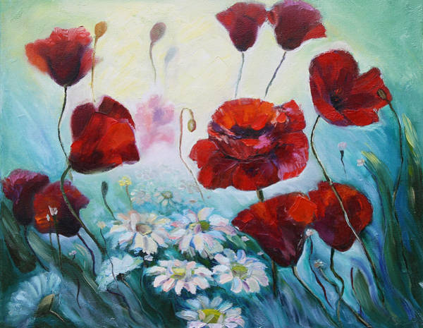 Painting - Red Poppies by Elena Antakova