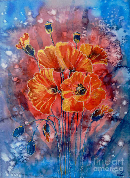 Painting - Red Poppies In Gold by Zaira Dzhaubaeva