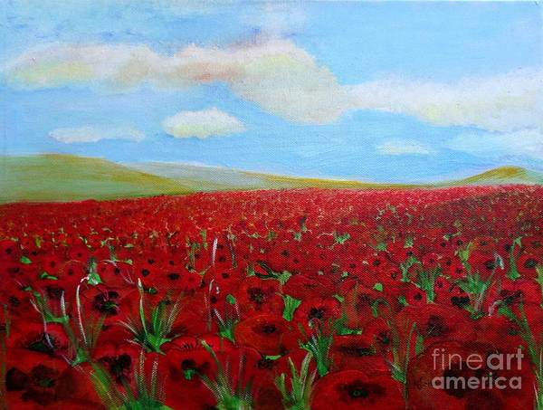 Painting - Red Poppies In Remembrance by Karen Jane Jones