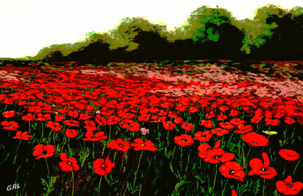 Painting - Red Poppies Landscapes Flowers Emerald Isle Multimedia Fine Art by G Linsenmayer