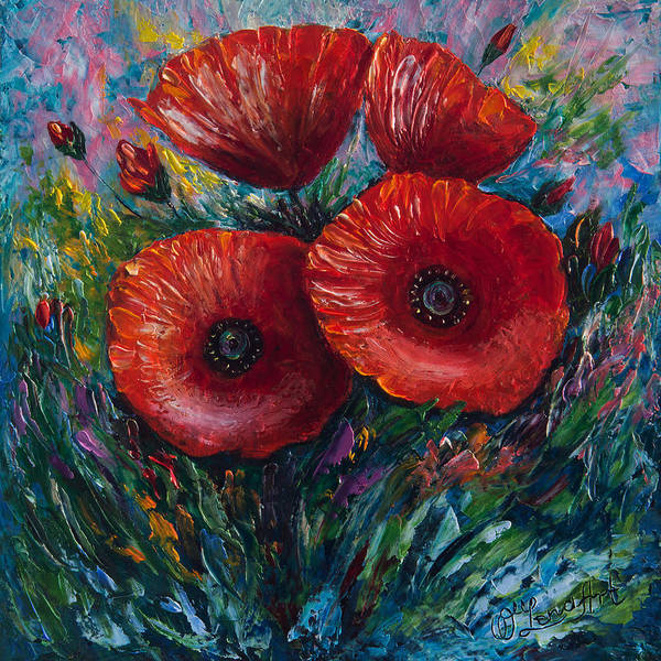 Painting - Red Poppies by OLena Art - Lena Owens
