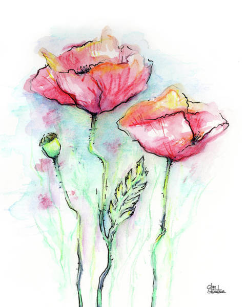 Wall Art - Painting - Red Poppies by Olga Shvartsur