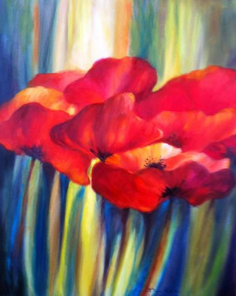 Lyle Painting - Red Poppies by Patricia Lyle