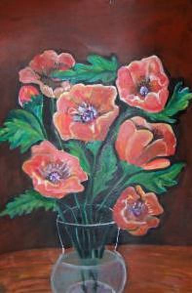 Dominate Painting - Red Poppies by Ruth Olivar Millan