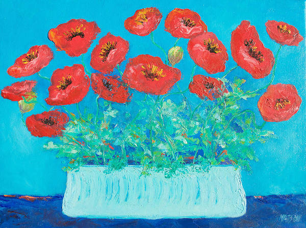Wall Art - Painting - Red Poppies Still Life by Jan Matson