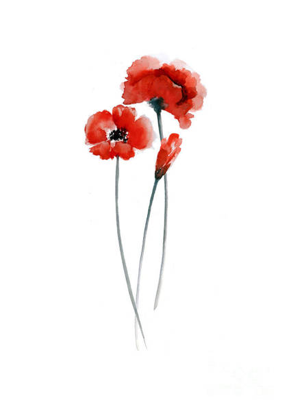 Red Poppy Mixed Media - Red Poppies Watercolor Painting by Joanna Szmerdt