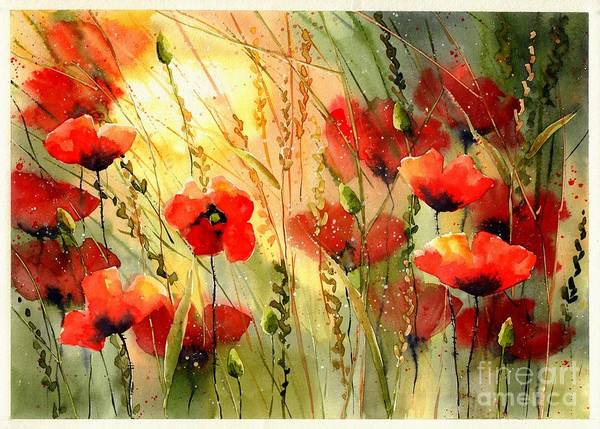 Watercolour Landscape Painting - Red Poppies Watercolor by Suzann's Art