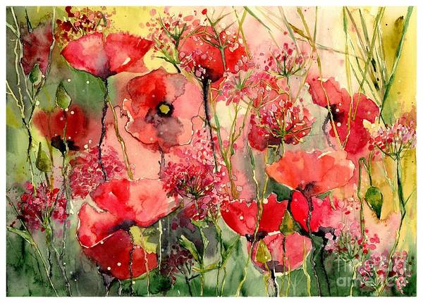 Wall Art - Painting - Red Poppies Wearing Pink by Suzann Sines