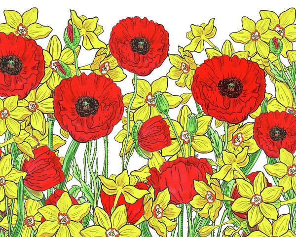 Painting - Red Poppies Yellow Daffodils Watercolor Pattern by Irina Sztukowski