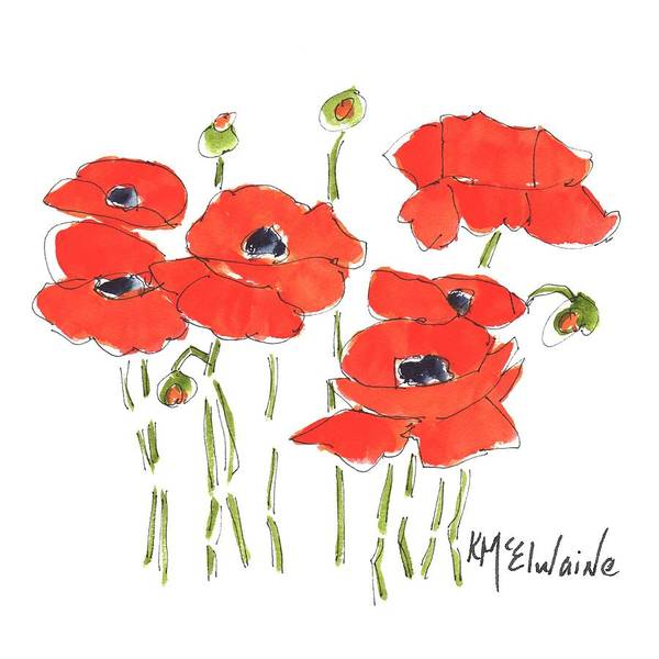 Painting - Red Poppy Flower Days  by Kathleen McElwaine