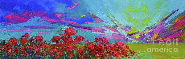 Painting - Red Poppy Flower Field, Impressionist Floral, Palette Knife Artwork by Patricia Awapara