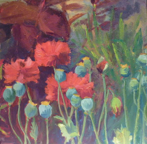 Wall Art - Painting - Red Poppy Pods by Sylvia Carlton