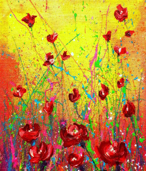 Painting - Red Posies by Tracy Bonin