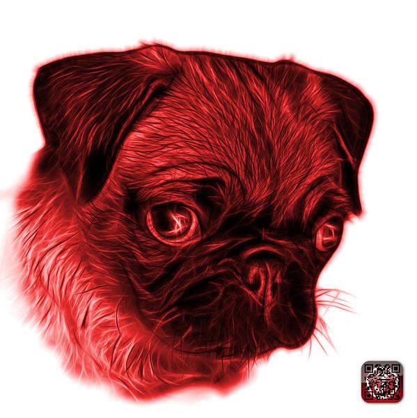 Digital Art - Red Pug -  9567 Fs W by James Ahn