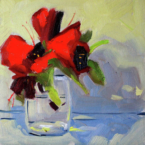 Semi Abstract Painting - Red Rhody by Nancy Merkle