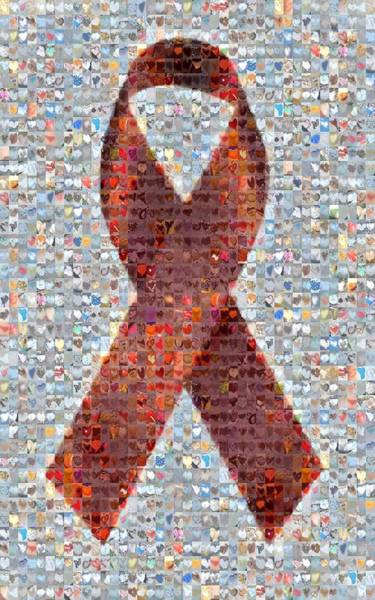 Mosaic Photograph - Red Ribbon To Benefit Cap by Boy Sees Hearts