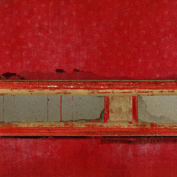 Wall Art - Mixed Media - Red Riley Collage Square 1 by Carol Leigh
