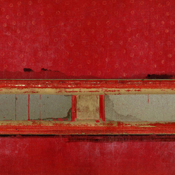 Wall Art - Mixed Media - Red Riley Collage Square 2 by Carol Leigh