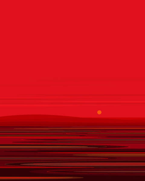 Digital Art - Red Ripple - Red Sunset by Val Arie