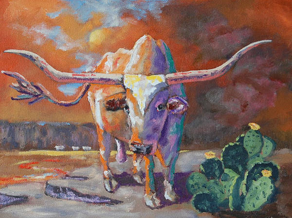 Longhorn Painting - Red River Showdown by J P Childress