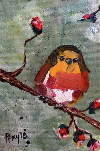 Animal Painting - Red Robin by Roxy Rich