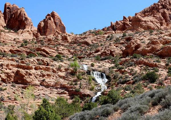 Photograph - Red Rock And Waterfalls - 2 by Christy Pooschke
