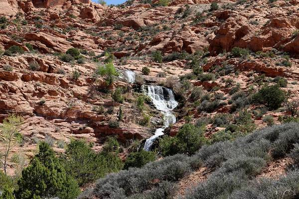Photograph - Red Rock And Waterfalls - 3 by Christy Pooschke