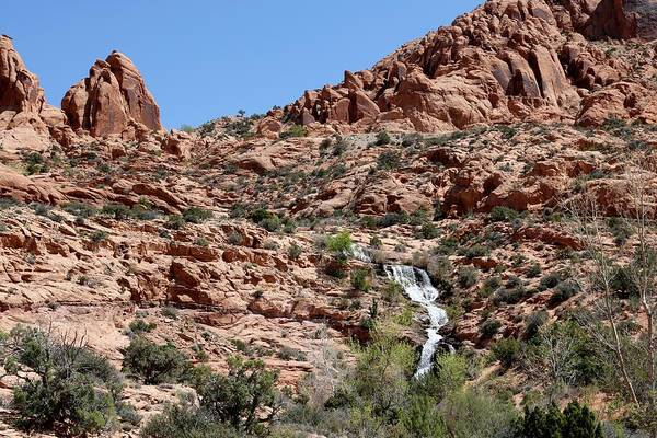 Photograph - Red Rock And Waterfalls  by Christy Pooschke