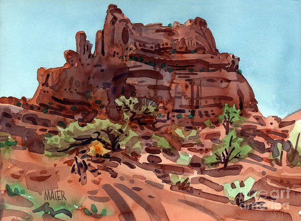 Butte Painting - Red Rock  by Donald Maier