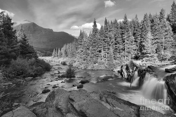 Photograph - Red Rock Falls Black And White by Adam Jewell