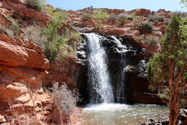 Photograph - Red Rock Waterfall  by Christy Pooschke