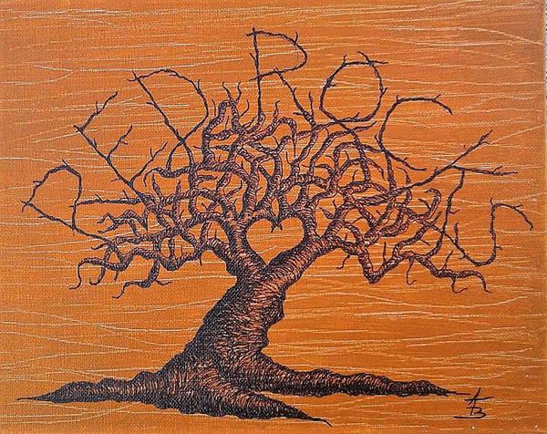 Drawing - Red Rocks Love Tree by Aaron Bombalicki